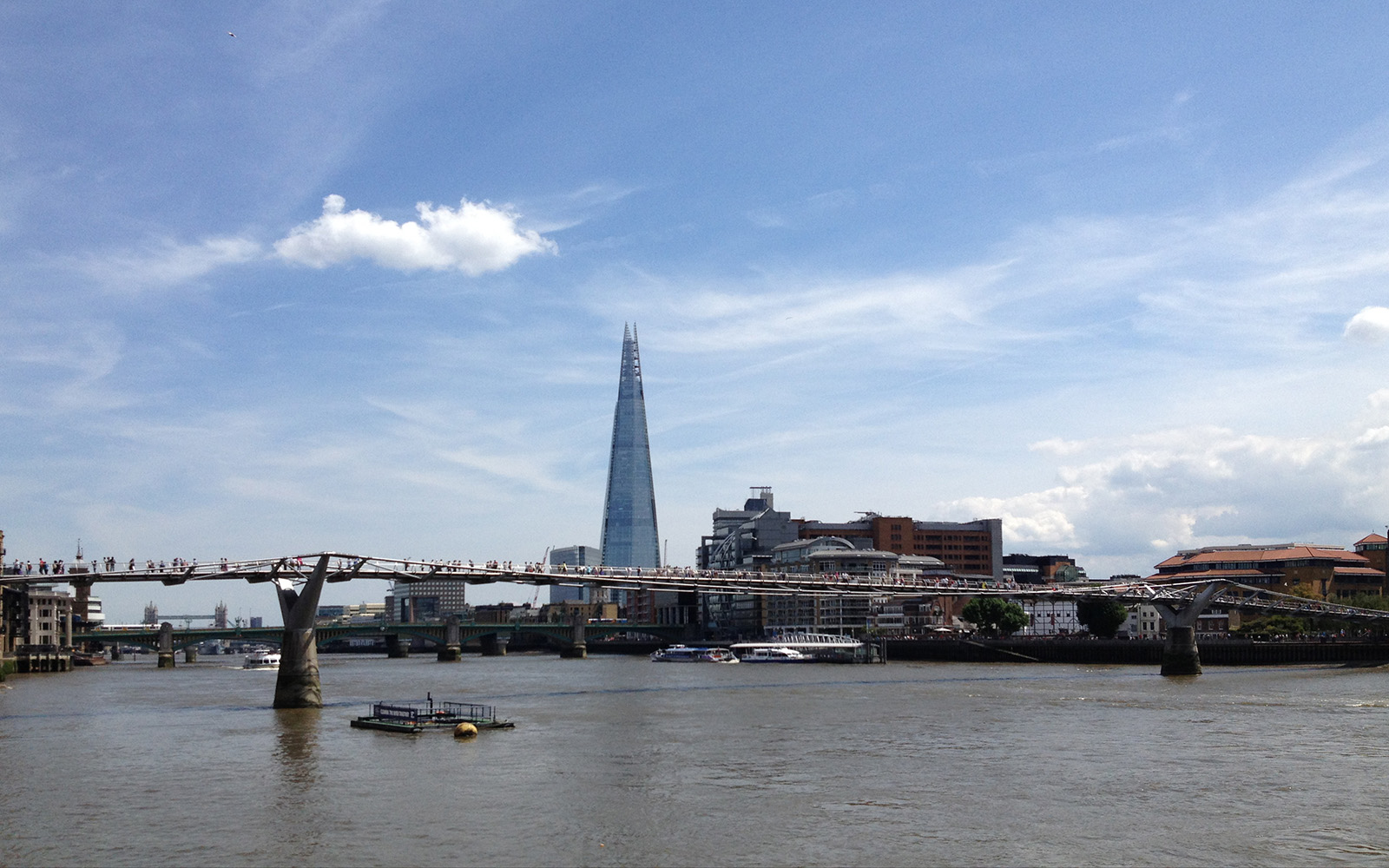 Millennium Bridge and The Shard, summer 2014
